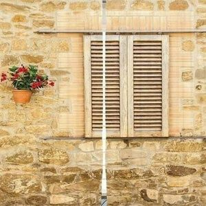 Curtains Wood Shutters Wall Print Backdrop 9210